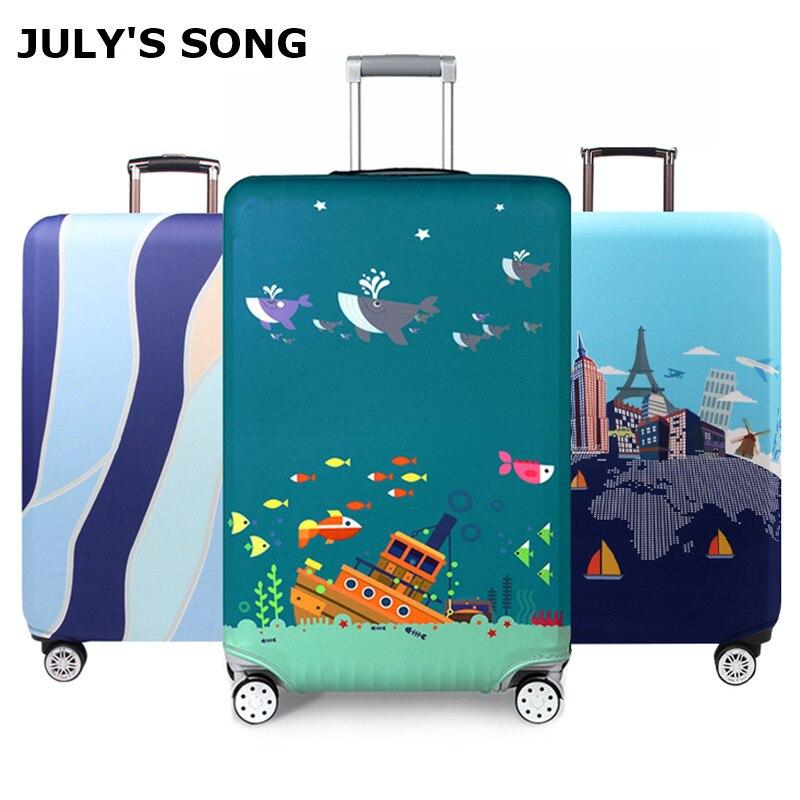 Плотный чехол JULY'S SONG для чемодана на колесиках 18-32 дюйма, защитный чехол, эластичный пылезащитный чехол, аксессуары для путешествий
