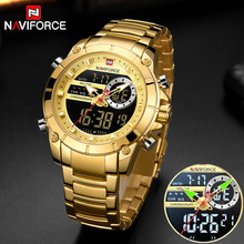 NAVIFORCE Male Clock Watch Quartz Steel Gold Military Waterproof Dual-Display Relogio Masculino