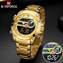 Nowy NAVIFORCE mężczyźni moda militarna zegarek złoty kwarc zegarek stalowy wodoodporny podwójny wyświetlacz męski zegarek na rękę Relogio Masculino