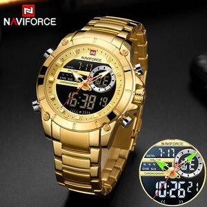 Image 1 - Nowy NAVIFORCE mężczyźni moda militarna zegarek złoty kwarc zegarek stalowy wodoodporny podwójny wyświetlacz męski zegarek na rękę Relogio Masculino