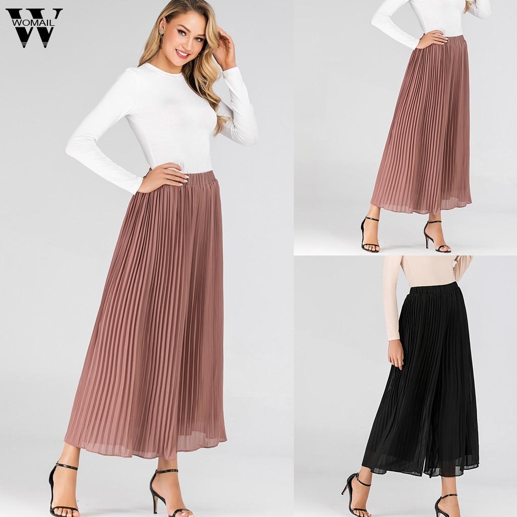 Womail Women   Pants     capris   Casual Korean Wide Leg long   Pant   Chiffon Ladies High Waist Trousers Femme fashion Loose 724
