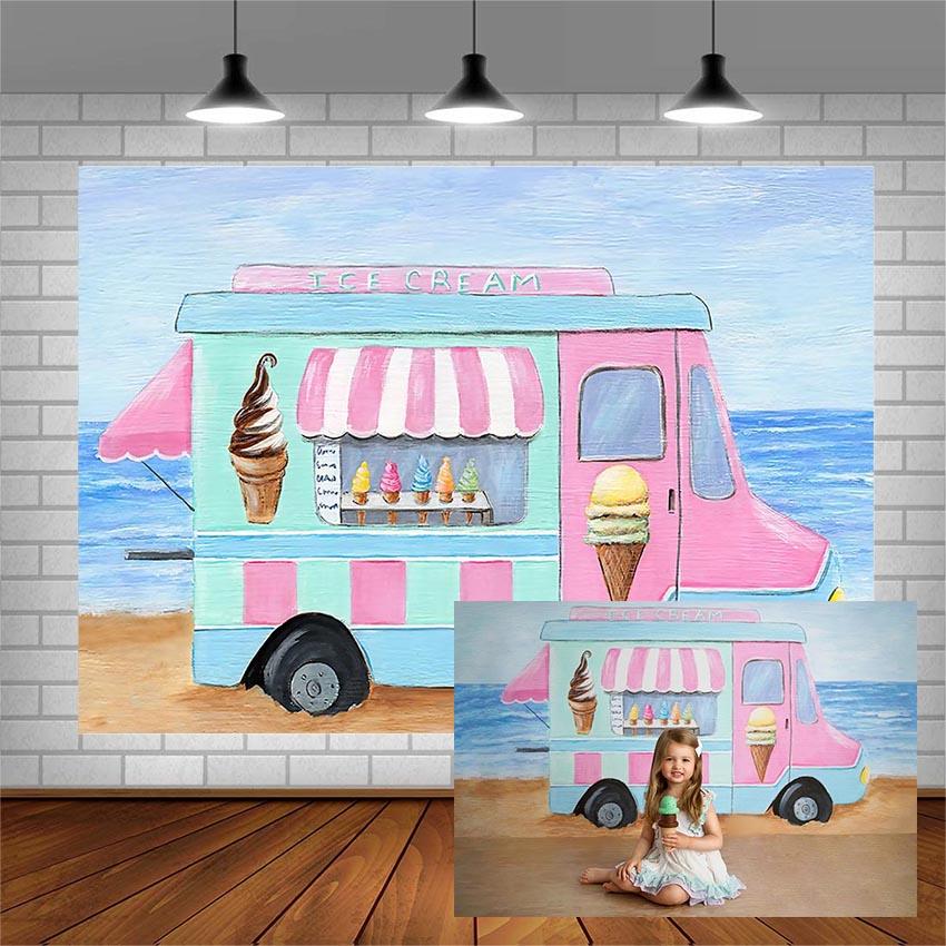 Avezano Photography Backgrounds Baby Shower Banner Ice Cream Cart Beach Backdrop For Photo Studio Photocall Photozone Decoration