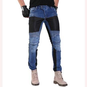Komine 719 Moto pantalons d'équitation Moto pantalon Jeans pantalons de protection Motocross course Denim Jeans avec maille 4 X genouillères