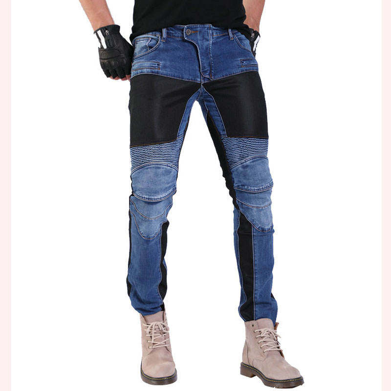 Komine 719 Motorcycle Riding Pants Moto Pantalon Jeans Protective Pants Motocross Racing Denim Jeans With Mesh 4 X Knee Hip Pads