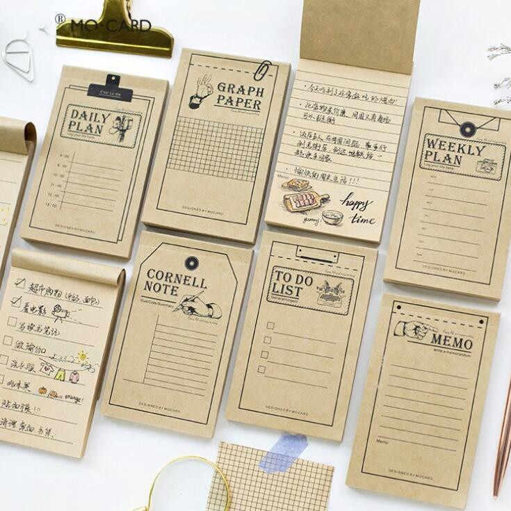 50 feuilles Vintage Kraft bloc-notes Note papier hebdomadaire pour le faire planificateur étude calendrier Plan Papelaria bureau école papeterie