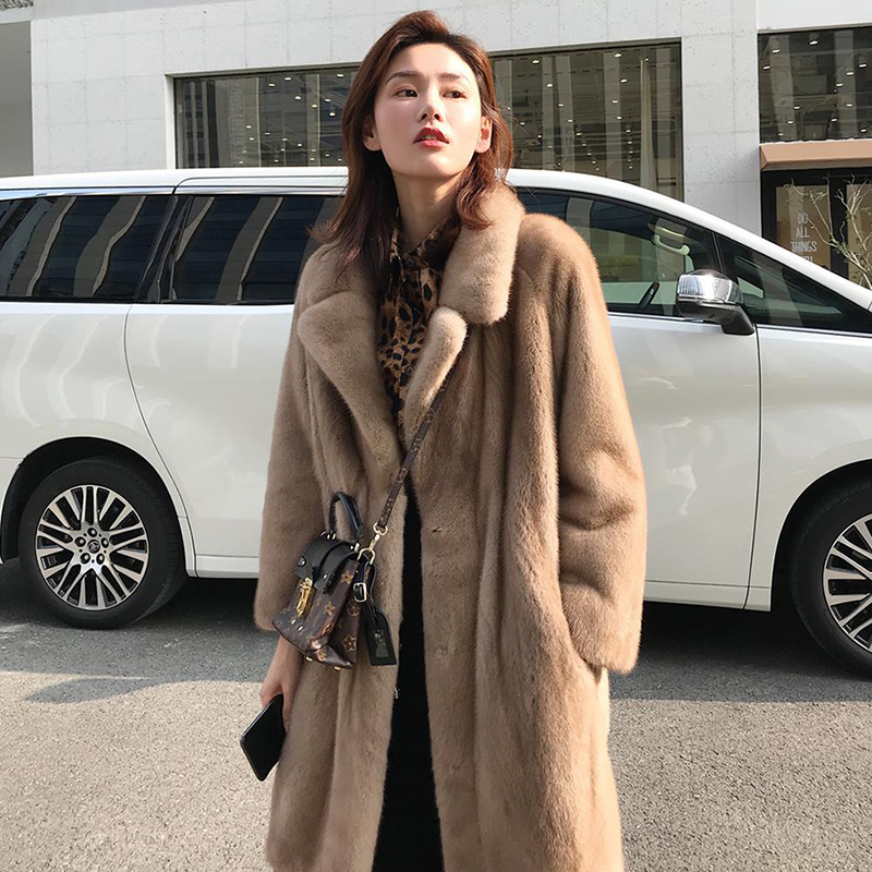 2019 mode fausse fourrure manteau automne hiver femmes décontracté chaud mince Long Faux vison fourrure poche hiver manteau femmes fourrure veste