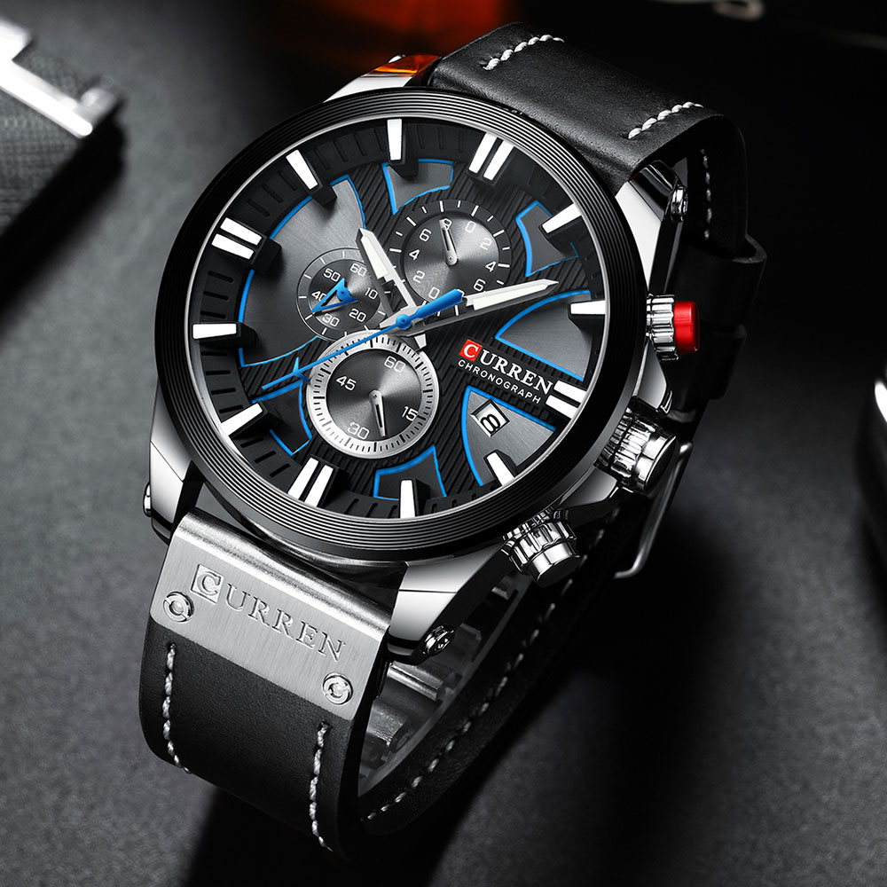 He770809994e245cba5972b21e1020235H CURREN Brand Luxury Men Watch Leather Quartz Clock Fashion Chronograph Wristwatch Male Sport Military 8346 Relogio Masculino