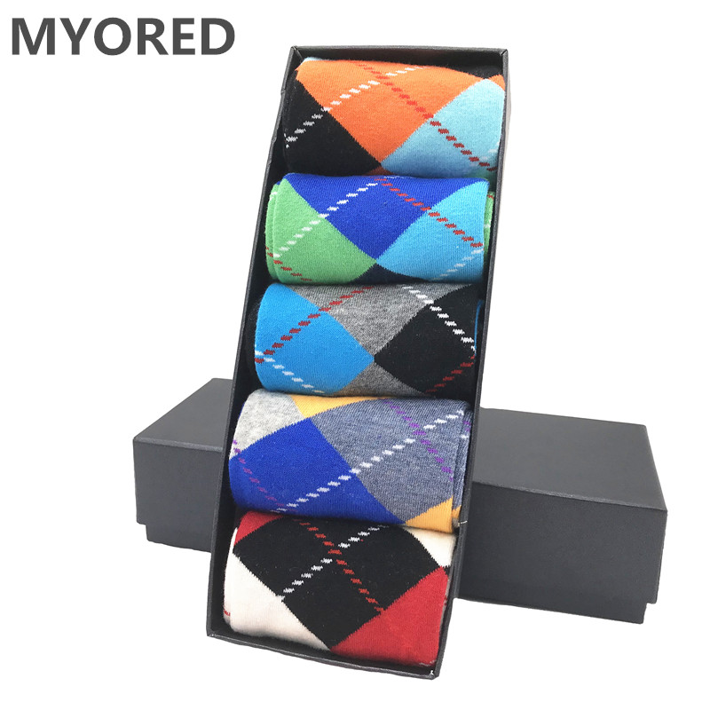 MYORED Men's Socks Dress Argyle-Pattern Classical Casual Cotton for Man Couple Wedding-Gift