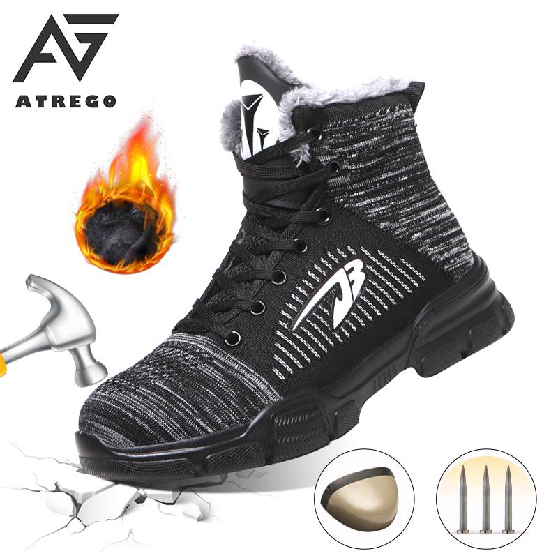AtreGo Men Steel Toe Safety Shoes Winter Warm Fur Cold-proof Snow Ankle Boots Outdoor Special Work Footwear Anti-smashing Shoes