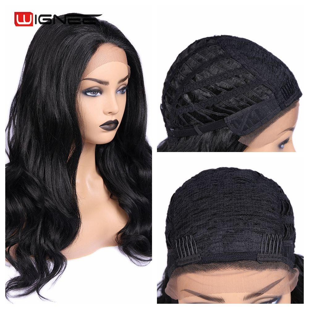 Wignee Lace Front Synthetic Wig Long Blcak Wavy Hair Wig Heat Resistant Fiber Hair Natural Hairline Cosplay Wigs For Black Women