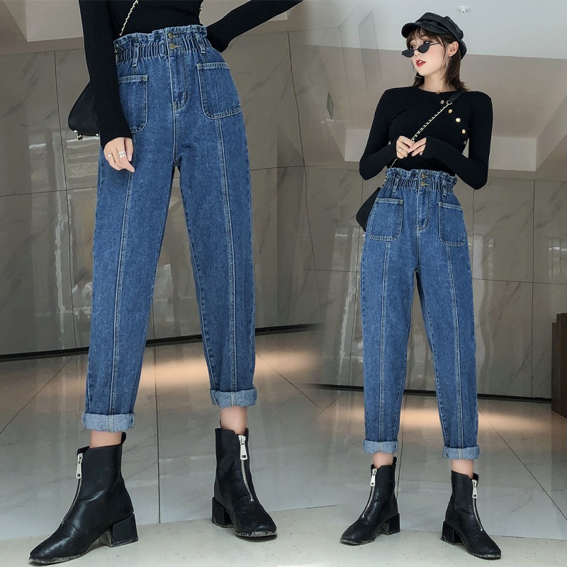 Plus Size Women Vintage Skinny Ladies High Waisted Jeans Mujer 2019 Femme Feminino Loose Elastic Waist Denim Pants Female K0289