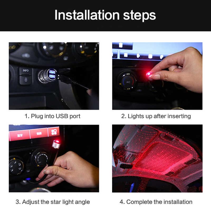 Wnętrze auta oświetlenie sufitowe projektor USB gwiazda światła samochodowe lampa akcesoria samochodowe dekoracja światło nastrojowa lampa LED TSLM2