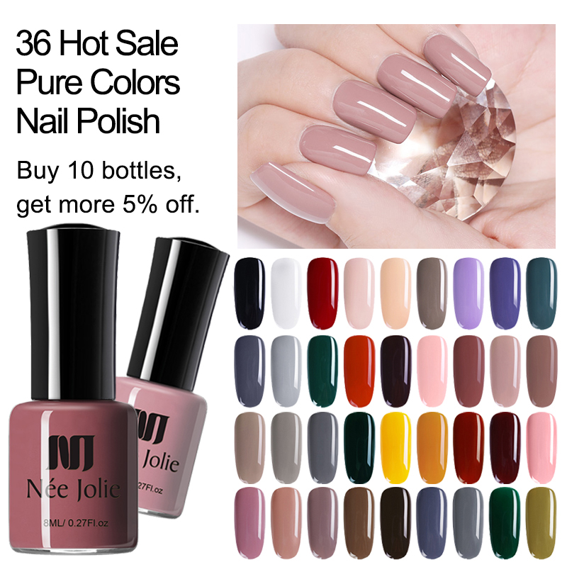 NEE JOLIE 8ml Nail Polish Pink Gray Coffee Series Fast Dry Nail Varnish 72 Ordinary Colors For Summer Nail Art Decoration