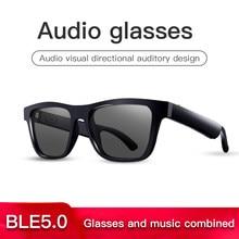 High end de áudio óculos condução óssea fone ouvido inteligente sweatproof sem fio bluetooth handsfree ouvido aberto polarizado música óculos sol
