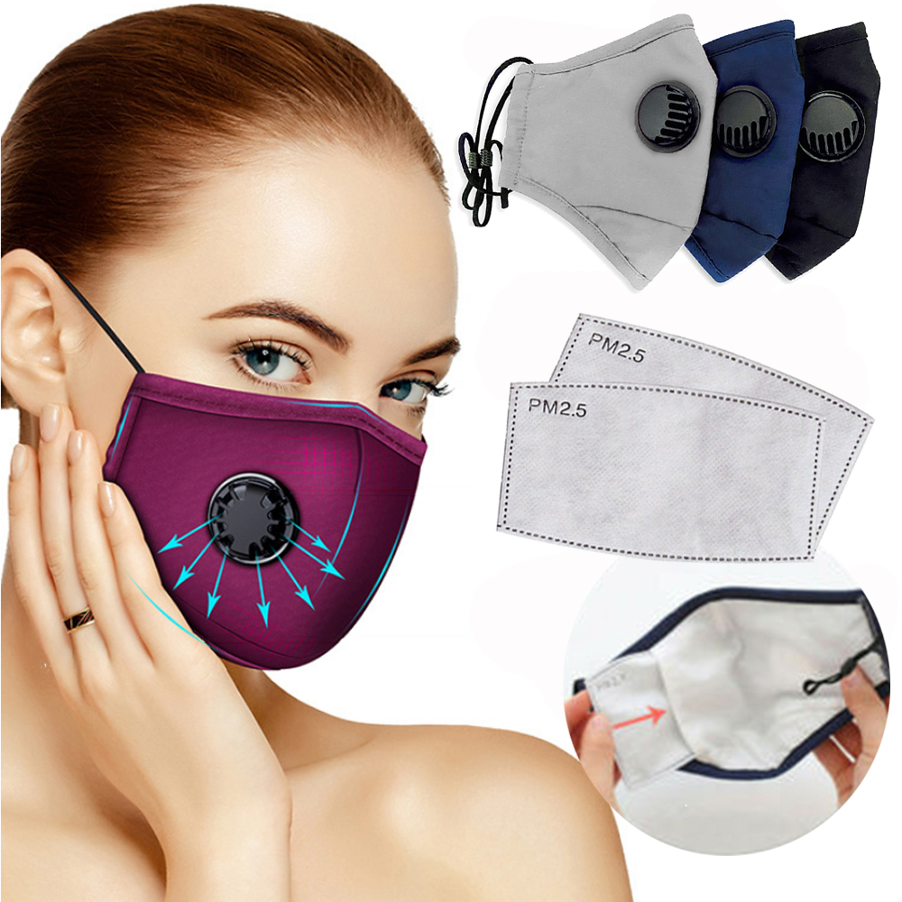 Cotton Valve Anti Haze Mask +2 Activated Carbon Filter Breathing Respirator Mouth-muffle Outdoor Sports PM2.5 Dust Washable Mask