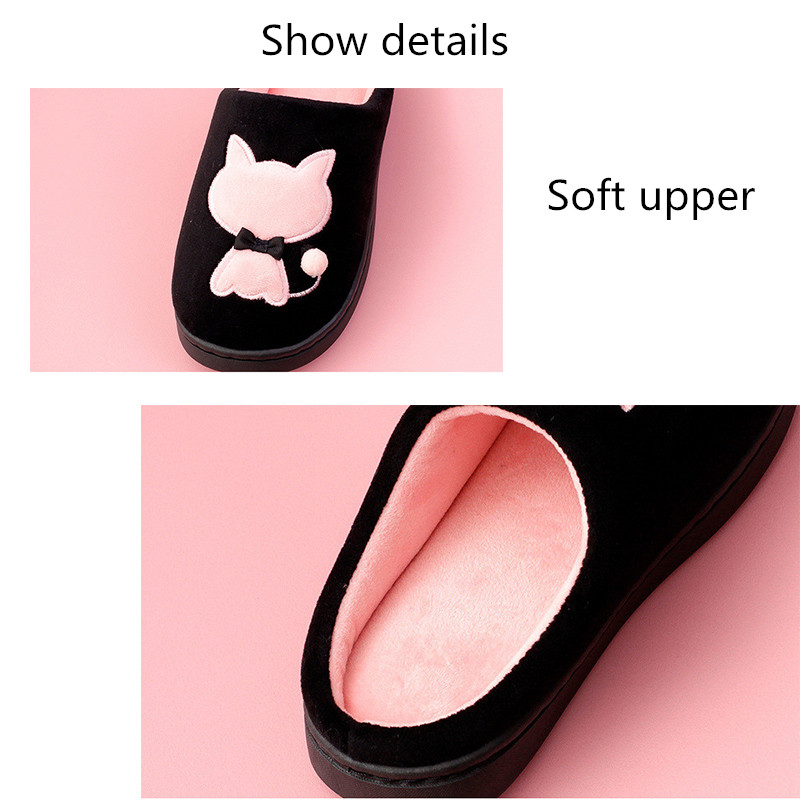 2019 Women Winter Home Slippers Cartoon Cat Shoes Soft Non-Slip Warm Slippers Indoor Bedroom Couple Husband And Wife Slippers