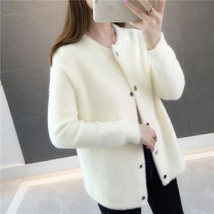 Image 2 - Pelliccia di visone autunno e in inverno maglione cappotto allentato 2020 nuove donne di velluto a maniche lunghe cardigan