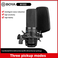 BOYA BY M1000 Large Professional Microphone Mic Kit w/ Double layer Pop Filter Shock Mount for Singer Vocals Studio Recording