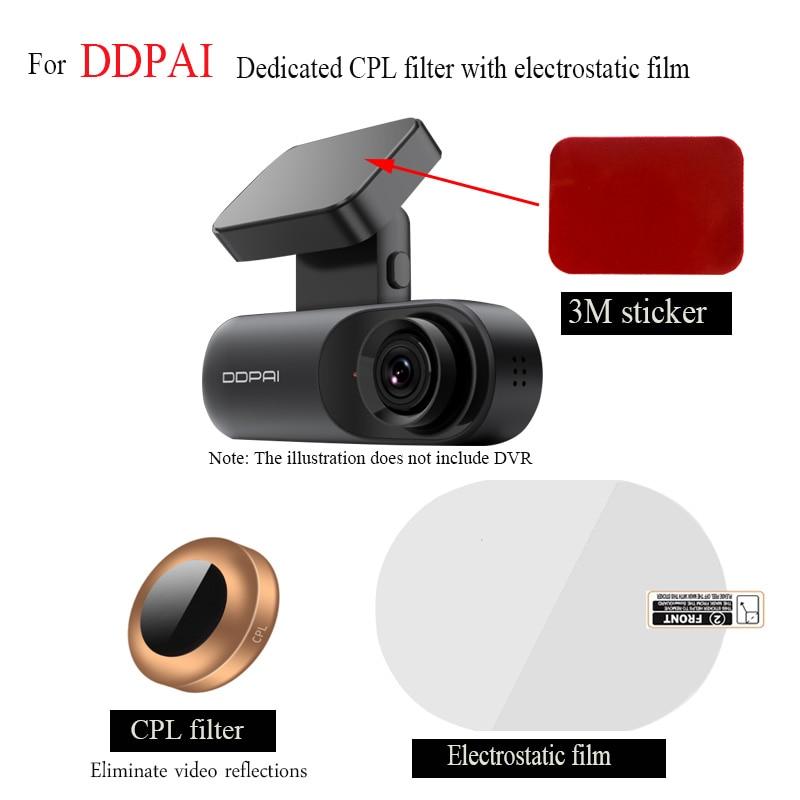 For DDPAID Dash Cam dedicated CPL polarizer+ 3M sticker to install electrostatic film, car DVR accessories,Auto supplies