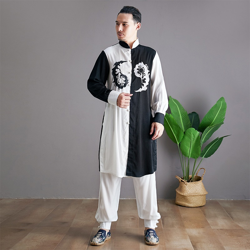 Linen Shirts Men Tracksuit Pants Sets Two Piece Kong Fu Suit Mens Streetwear Fashion Sweat Pant 2019 Men'S Sets KK3174 - 3
