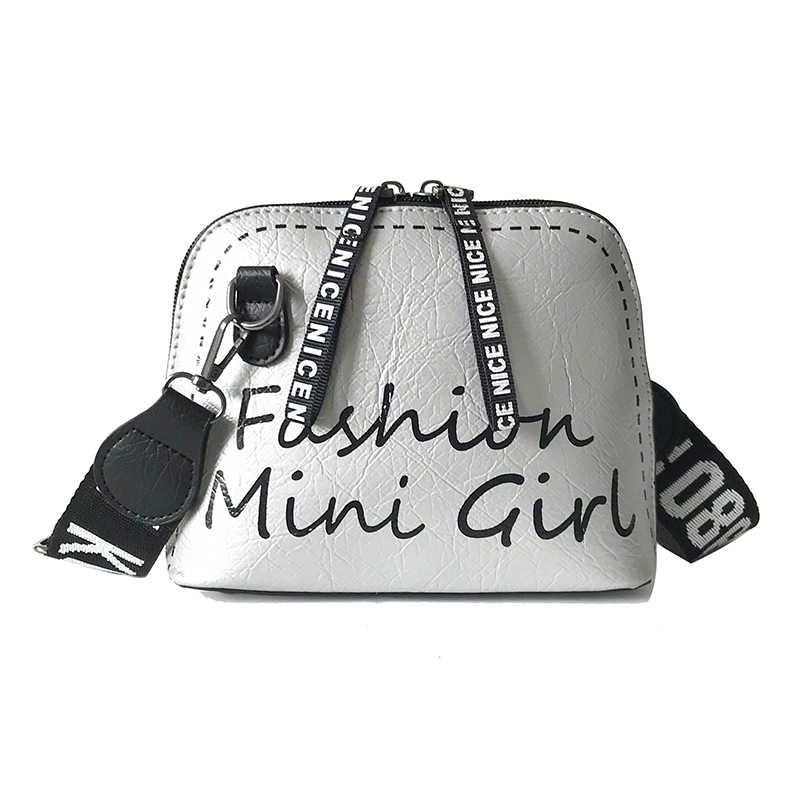 2019 Fashion Baru Mini Tas Selempang untuk Wanita dengan Tali Bahu Lebar Kualitas Kulit Tas Kulit Wanita Huruf Tas Bahu sac