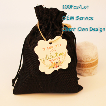 Hangtag For Velvet Bag Organza Bag Burlap Pouch White/Brown/Black/Black Kraft Paper Card Printing Hangtag Can Customized image