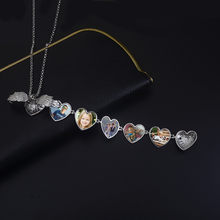 Creative Necklace Expanding Photo Box Necklace Heart Shaped Foldable Multi Layer Necklace Hold 5 Photos Wings Jewelry Gift New(China)