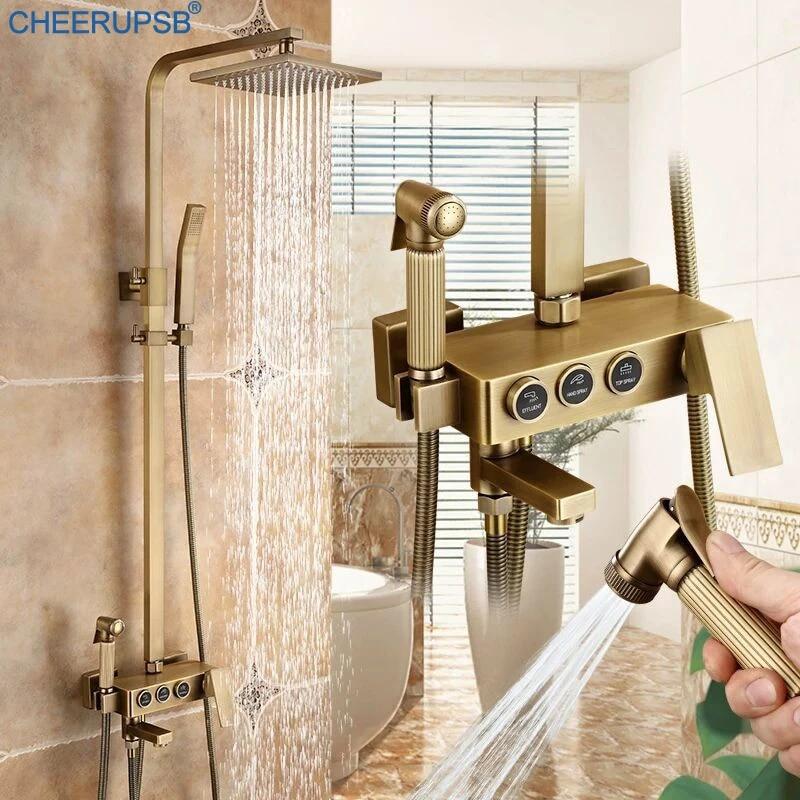 robinet mitigeur en laiton brosse salle de bains systeme de douche pluie retro robinet de bain robinet thermostatique de douche de pluie