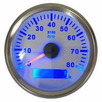 1pc High Quality 85mm Tachometer Gauges 0 8000RPM with Blue Backlight Lcd Rev Counters Hour Meters 9 32vdc for Auto Boat