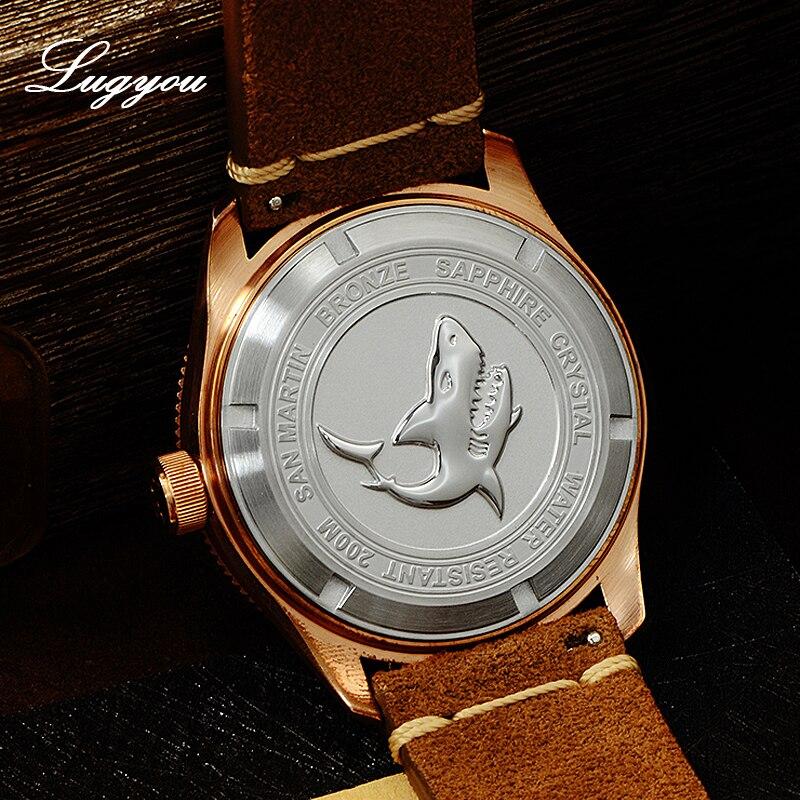Image 3 - Lugyou さんマーティンブロンズダイバー腕時計自動回転ベゼル 200 メートル耐水性サファイアドーム型クリスタル本革ストラップ機械式時計   -