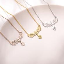 Stainless Steel Origami Phoenix Necklace For Women Choker Animal Pendant Minimalist Jewelry Party Accessories Kolye