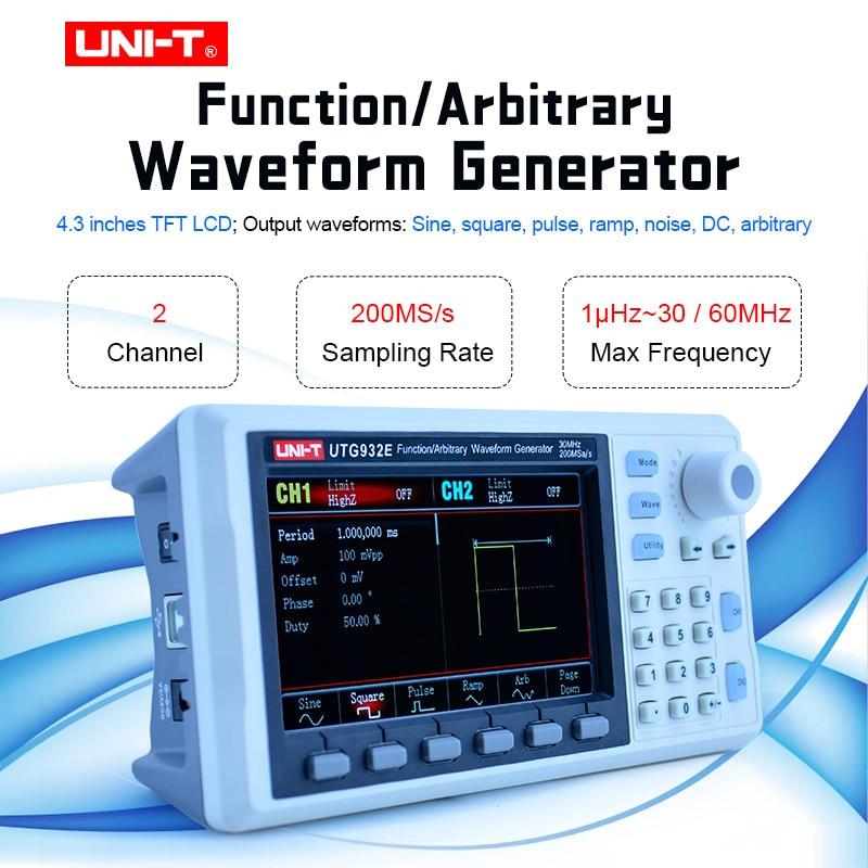 UNI-T UTG932E UTG962E, функция произвольной формы генератора сигналов, двухканальный 200 мкс/с 14-битный частотомер 30/60 МГц
