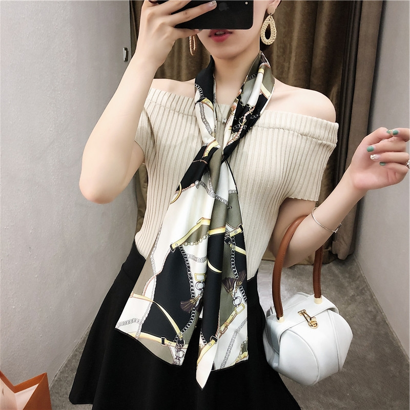 Spring Autumn Multicolor Double-sided Printing Silk Scarf For Women Long Butterfly Narrow Scarf Hairbands Belt Infinity Scarf