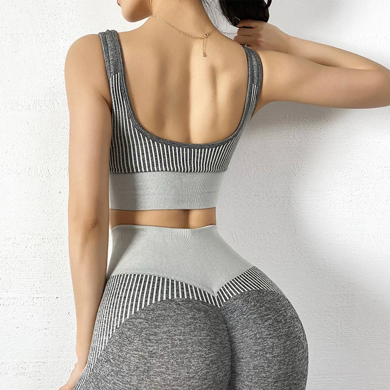 2pcs/sets Gray Seamless Yoga Sets Women Sexy Workout Set Sports Wear Gym Outdoor Active Wear Hight Waited Pants Women Bra