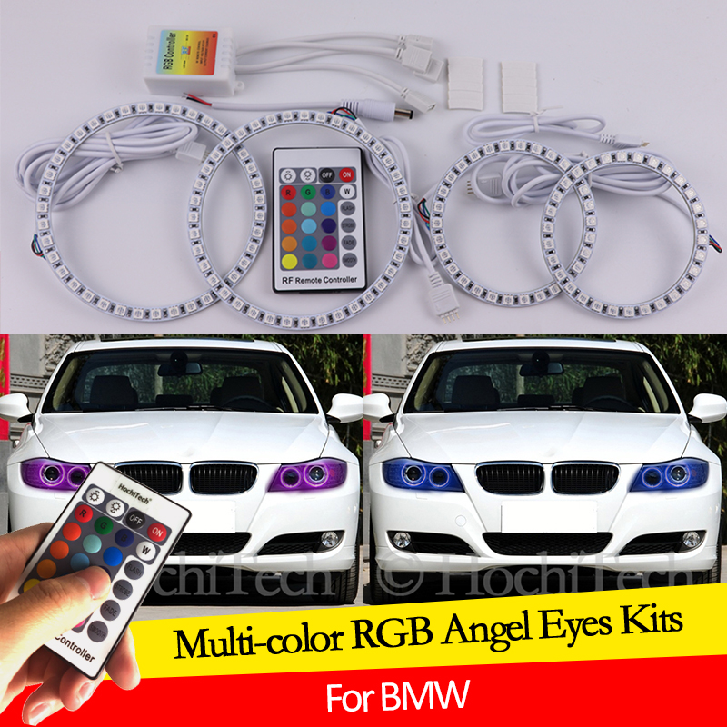 For BMW 3 Series E91 E90 LCI 2009-2012 Xenon headlights 16 colors RGB Angel Eyes LED Halo Rings RF Wireless Control DRL image