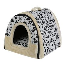 Portable Foldable Dog Puppy Cat House Kennel Nest Soft Bed With Mat For Small Medium Pet Comfortable Travel Bed Tent(China)