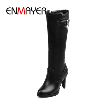 ENMAYER Top quality comfortable leather boots women  pointed toe lady high heels chunky Size34-43 thigh
