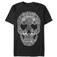 Lost Gods Henna Grinning Skull Print Mens Graphic T Shirt(China)