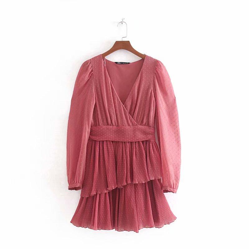Women Cross V Neck Solid Color Chiffon Kimono Vestidos Casual Pleated Dress Ladies Laminated Ruffles Side Zipper Dresses DS2866