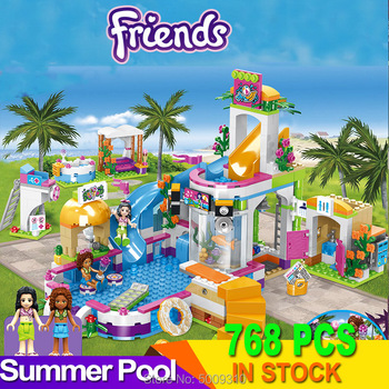 768pcs building blocks The Heartlake Summer Pool Bricks With figures toys for children Girls Compatible Friends 41313 waz compatible with lego friends 41150 25003 322pcs building blocks moana s ocean voyage bricks figure toys for children