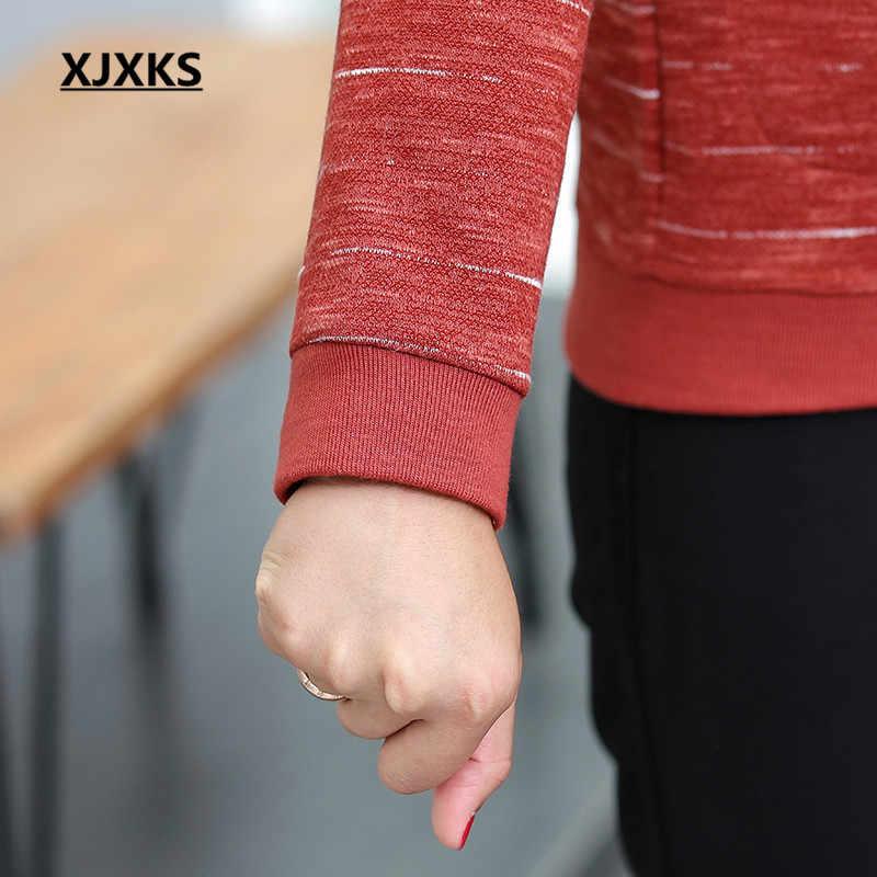 Xjxks Zipper Cardigan Jaket Wanita 2019 Musim Gugur Baru Kenyamanan Kasual Longgar Plus Ukuran Fashion Bergaris Wanita Mantel