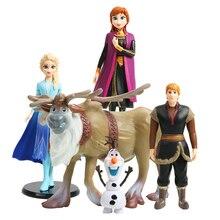 Boneca disney frozen 2 elsa anna, 5 pçs/set pvc, figura de ação, brinquedos para crianças, presente de aniversário e natal