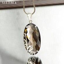 925 Sterling Silver Wave Pattern Smoky Quartz Pendant Handmade Craft Designer Trendy Vintage Pendants Fine Jewelry Women Party