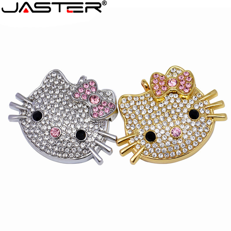 JASTER USB 2.0 4GB 8GB 16GB 32GB 64GB Pen Drive Hello Kitty KT Cat Creative Gift Lovers Usb Flash Drive Pendrive Memory Stick