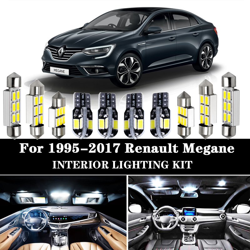 100% White No Error Car <font><b>LED</b></font> bulb Interior Reading light Kit for 1995-2017 <font><b>Renault</b></font> <font><b>Megane</b></font> I II III IV 1 <font><b>2</b></font> 3 4 CC Map Dome <font><b>lamp</b></font> image