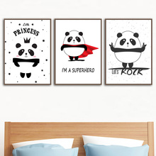 Cartoon Super Panda Princess Wall Art Print Canvas Painting Nordic Poster And Prints Pictures Kids Room Decor