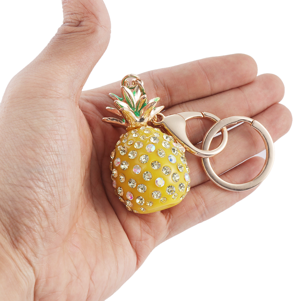 High Quality Leather Yellow Pineapple Cute Car Keychain Plated Key Rings Keychain Car Interior Decoration