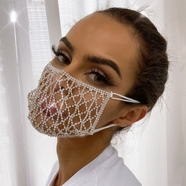 Silver Rhinestone Decorative Mask Fashion Nightclub Face Masks Accessories Women Party Performance Outfit Dj Stage Wear DT2374 1