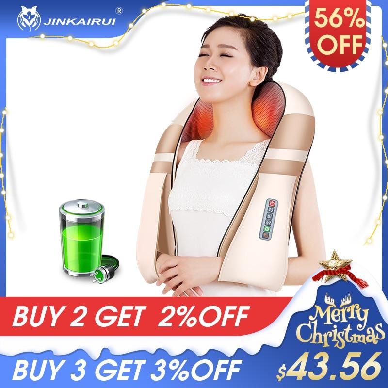 JinKairui 16 Massage Ball Back Shiatsu Neck Massager Cordless Rechargeable 3D Deep Kneading Heat Portable Full Body Massagem