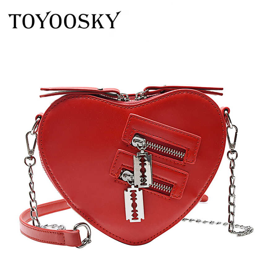 TOYOOSKY Designer Women Heart Shaped Shoulder Bag Small Purse Fashion Ladies Handbag Zipper PU Leather Messenger Crossbody Bags